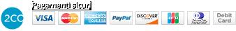 Pagamento sicuro con carta di credito Visa, Master, American Express, Paypal in connessione criptata
